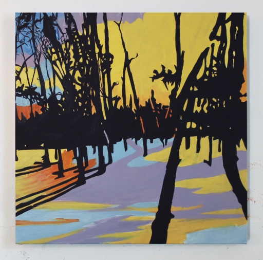 """Riverfront Foreclosure, Oil on Canvas, 26"""" x 26"""", 2014"""