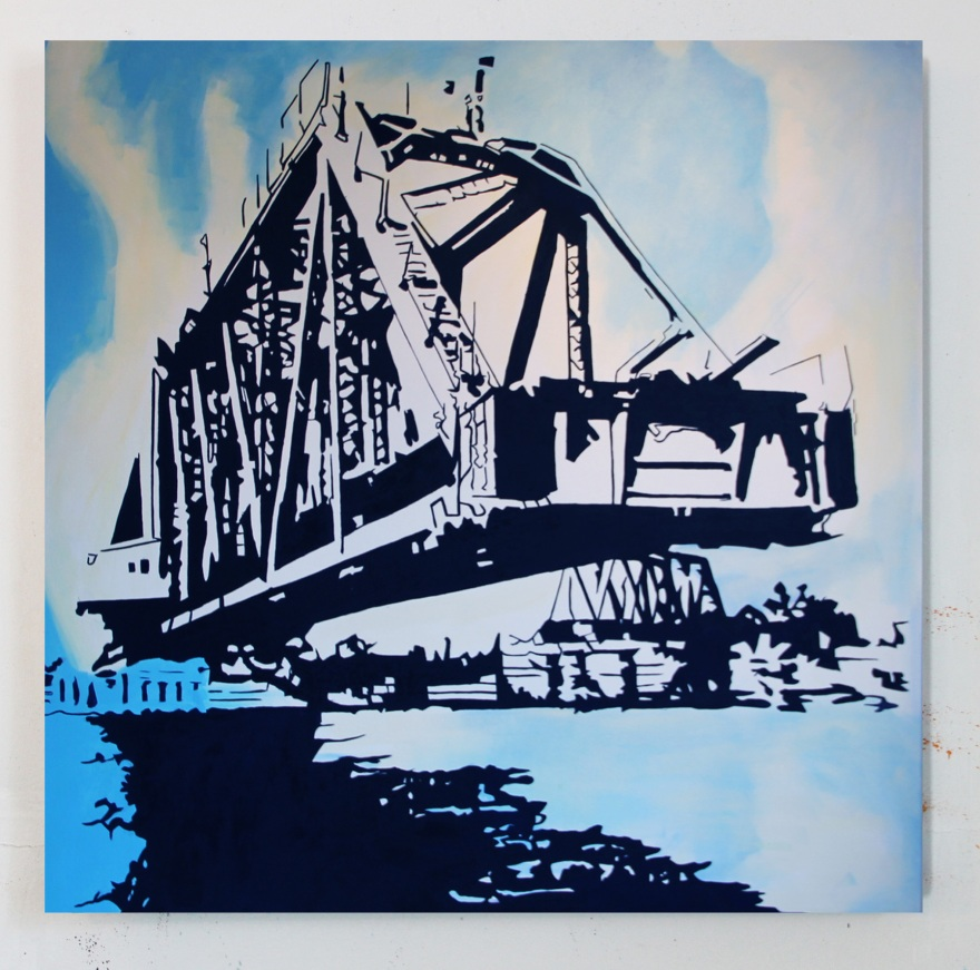 Swing Bridge, Oil on Canvas, 54 x 54, 2015