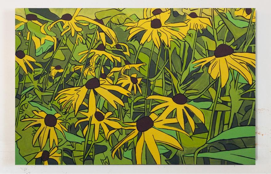 Black Eyed Susans 2, Oil on Canvas, 18 x 30, 2016