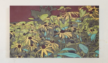 Black Eyed Susans 3, Oil on Canvas, 30 x 18, 2017
