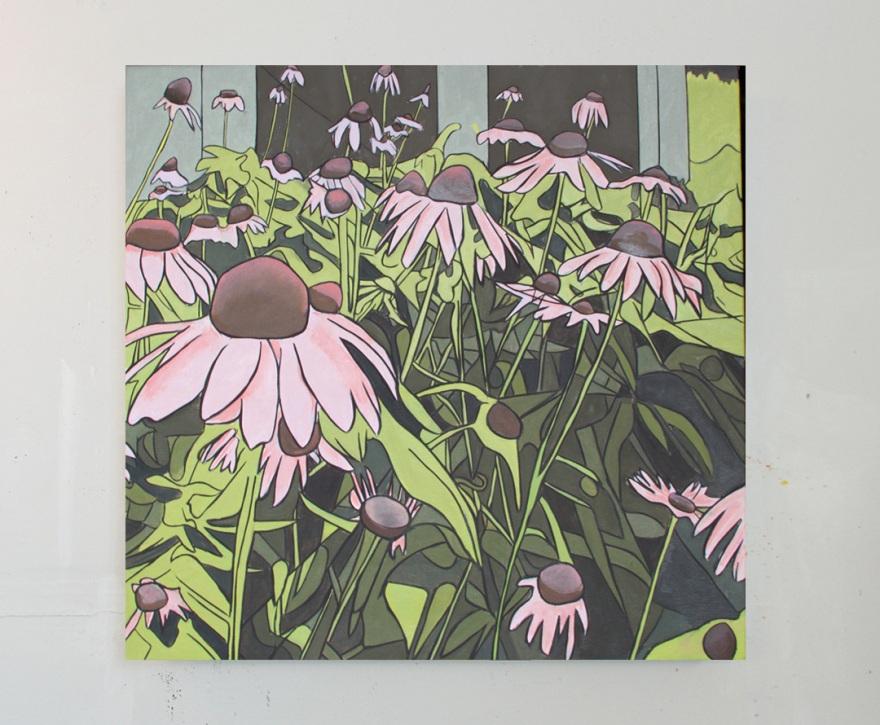 Slagle_Purple-Cone-Flowers_oil-on-canvas_26x26_2017