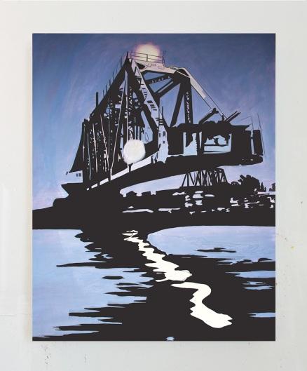 Swing Bridge, Evening, Oil on Canvas, 60 x 47, 2017